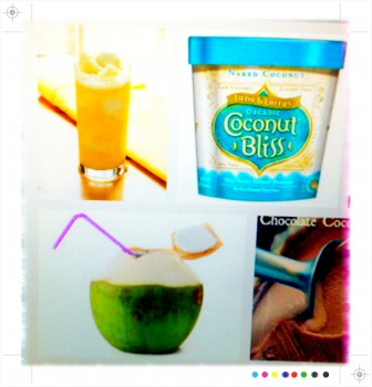 coconut water, ice cream