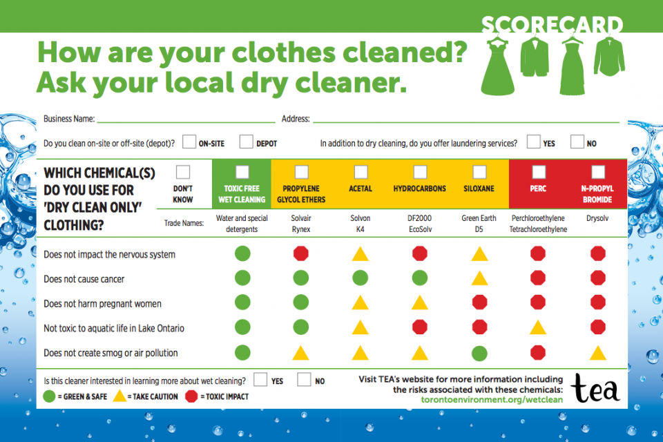 Dry cleaner scorecard