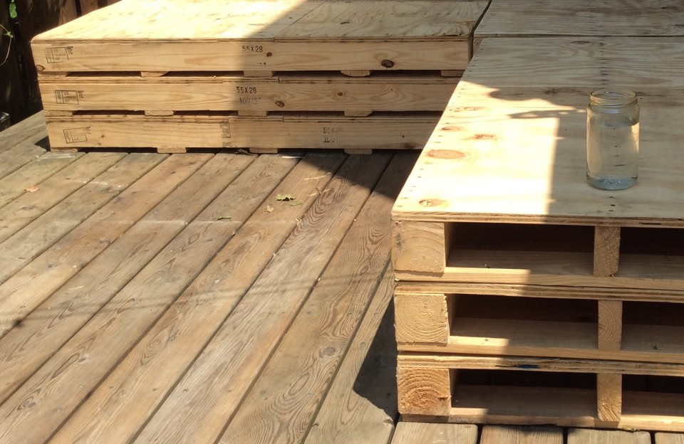 Cropped stacked pallets